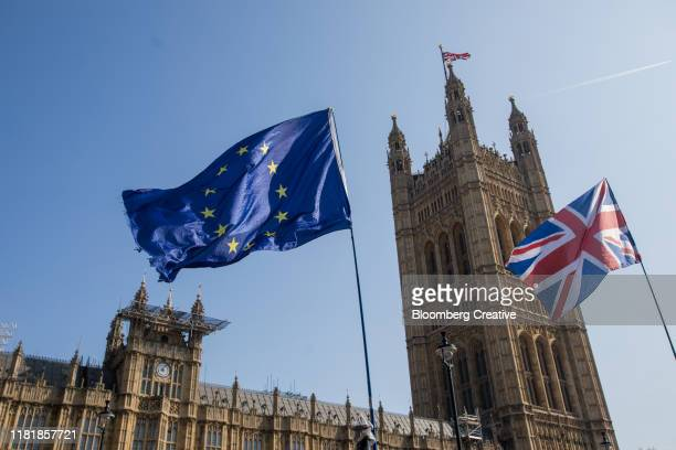 british union flag and european flag - brexit stock pictures, royalty-free photos & images