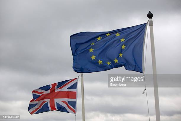 A British Union flag commonly known as a Union Jack left flies next to the European Union flag outside the Brough Superior Motorcycles SAS factory in...