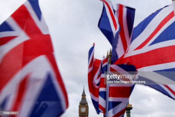 british union flags fly near big benin london.  - big mac stock pictures, royalty-free photos & images