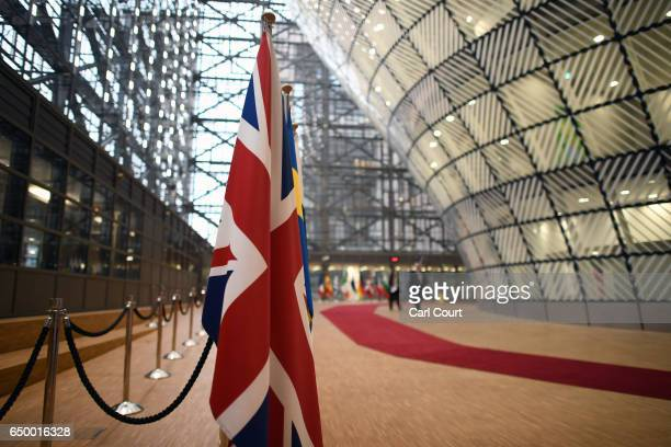British Union flags is displayed in the arrival area of the Europa building at the Council of the European Union on the first day of an EU summit, on...