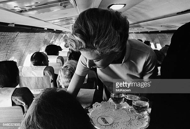 British United Airways flight attendants wearing the new uniforms they have designed themselves 5th July 1967