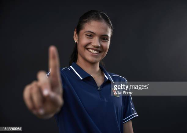 British US Open champion Emma Raducanu becomes the new British number one as she poses for a portrait on her return to the LTA's National Tennis...