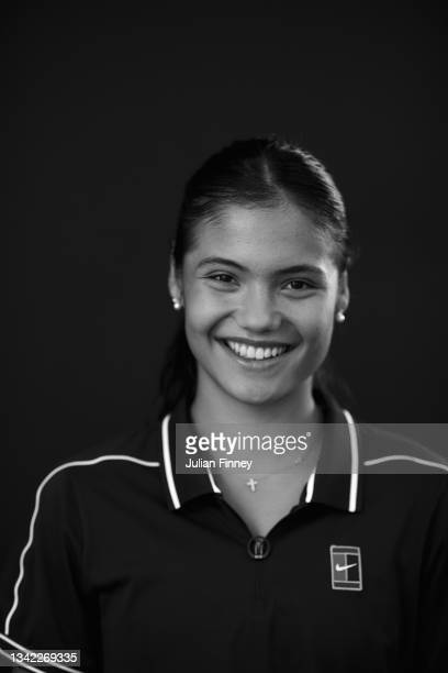 British US Open champion Emma Raducanu poses for a portrait as she returns to the LTA's National Tennis Centre for The Homecoming and to celebrate...