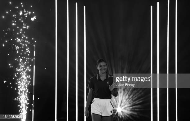 British US Open champion Emma Raducanu walks out on stage as she returns to the LTA's National Tennis Centre for The Homecoming and to celebrate...