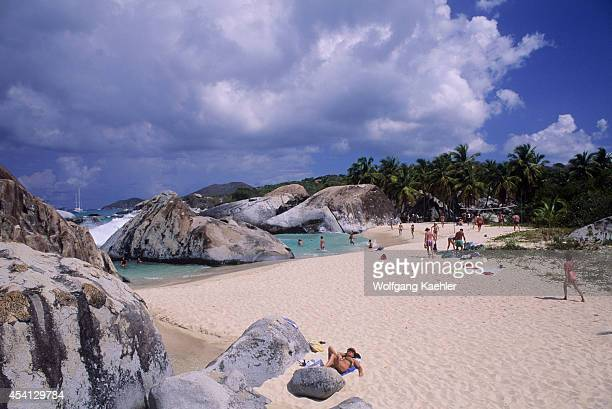British Virgin Island, Virgin Gorda, The Baths, Granite Rock Formations, Tourists.