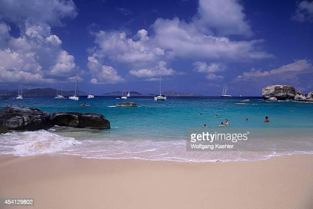 British Virgin Island, Virgin Gorda, The Baths, Granite Rock Formations, White Sand Beach.
