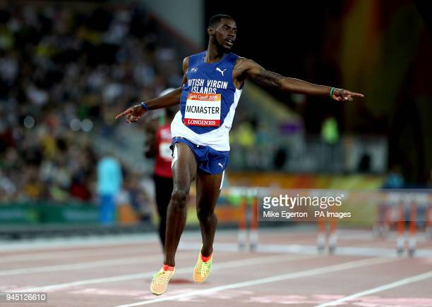 British Virgin Islands' Kyron McMaster celebrates victory in the Men's 400m Hurdles Final at the Carrara Stadium during day eight of the 2018...
