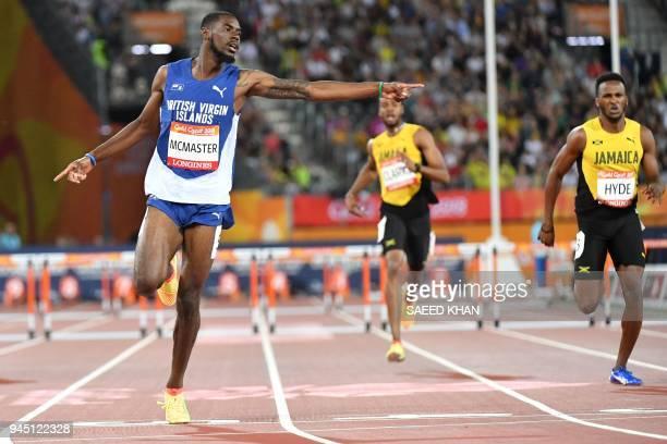 British Virgin Islands Kyron Mcmaster wins the athletics men's 400m hurdles final during the 2018 Gold Coast Commonwealth Games at the Carrara...