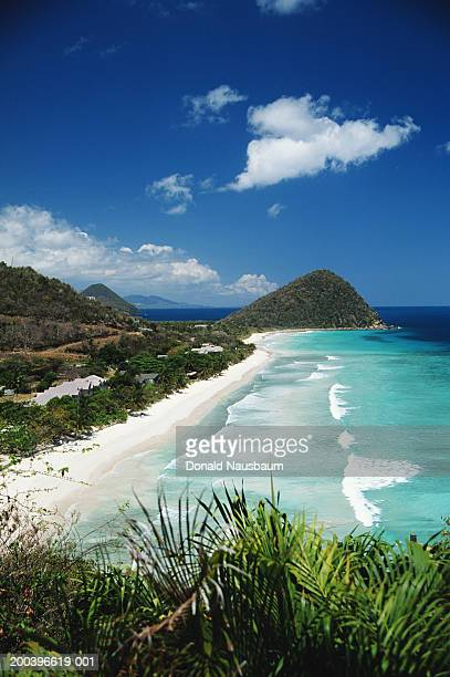 British Virgin Islands, Tortola, Long Bay, elevated view