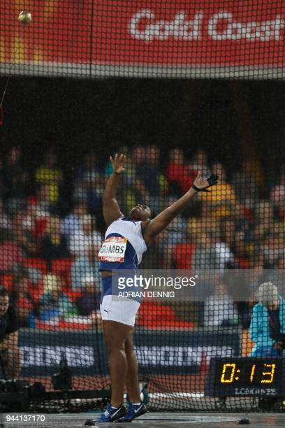 British Virgin Islands' Tynelle Gumbs competes in the athletics women's hammer throw final during the 2018 Gold Coast Commonwealth Games at the...