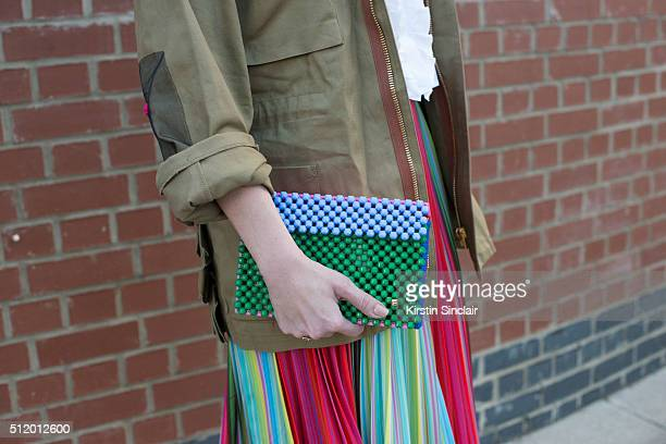British Vogue contributing editor Tania Fares wears a Mary Katrantzou skirt and Natasha Zinko jacket on day 5 during London Fashion Week...