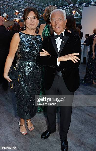 British Vogue editor Alexandra Shulman and Giorgio Armani attend British Vogue's Centenary gala dinner at Kensington Gardens on May 23 2016 in London...