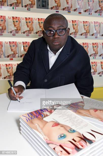 British Vogue editor Edward Enninful signs limited edition hardback copies of his first issue for fans at Conde Nast Worldwide News Store Vogue House...
