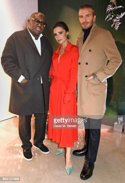 British Vogue editor Edward Enninful Victoria Beckham and David Beckham attend the Victoria Beckham Christmas Open House hosted by Victoria Beckham...