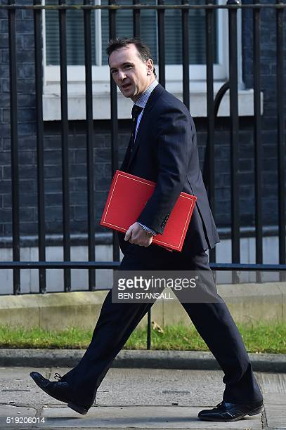 British Wales Secretary Alun Cairns arrives at 10 Downing Street in London on April 5 2016 for a meeting to discuss the Tata Steel works in Port...
