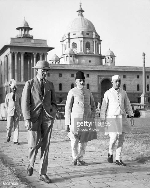 British War Cabinet minister Sir Stafford Cripps with Pandit Jawaharlal Nehru in New Delhi India March 1942 Cripps was negotiating with Indian...