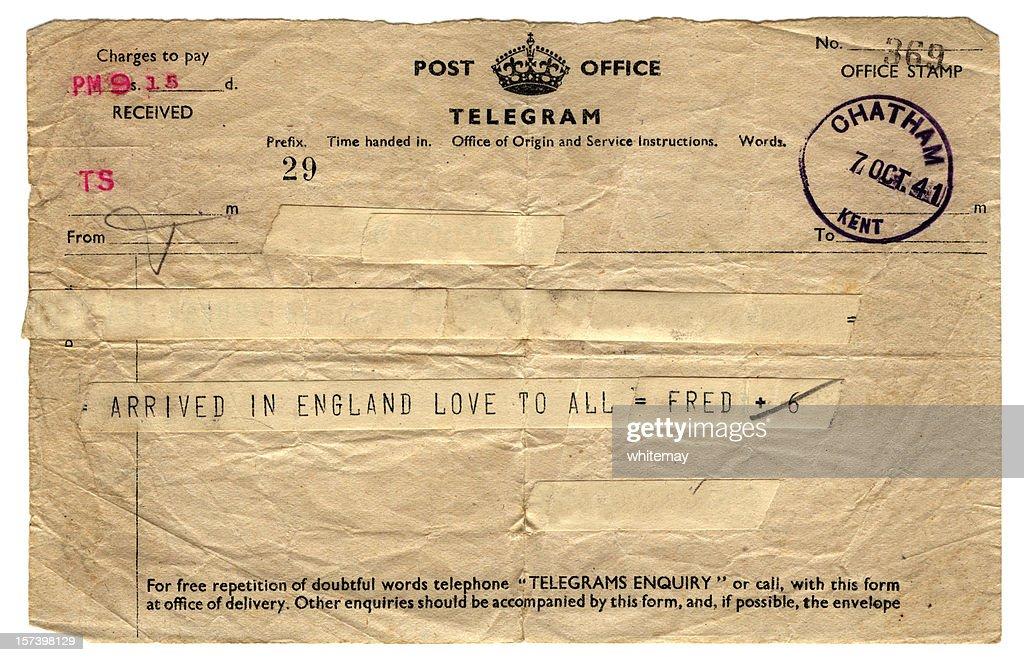 British wartime telegram - 1941 : Stock Photo