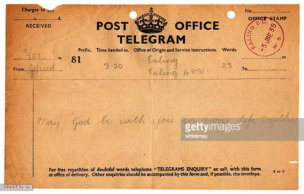 British wedding congratulations telegram, 1935