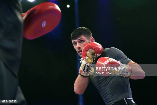 British welterweight boxer Josh Kelly takes part in a work-out at Wembley Stadium in north west London on April 26, 2017. / AFP PHOTO / Daniel...