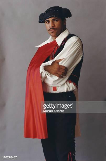 British welterweight champion Lloyd Honeyghan in a matador costume Upstate New York July 1987
