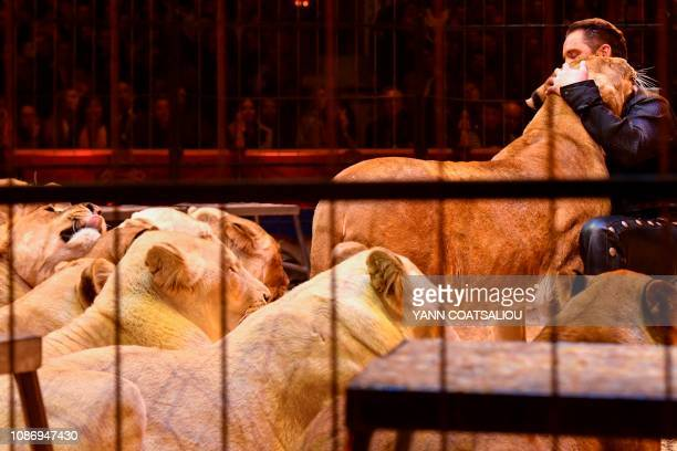 British wild cat trainer Martin Lacey Junior performs with lions during the gala of the 43th MonteCarlo International Circus Festival in Monaco on...