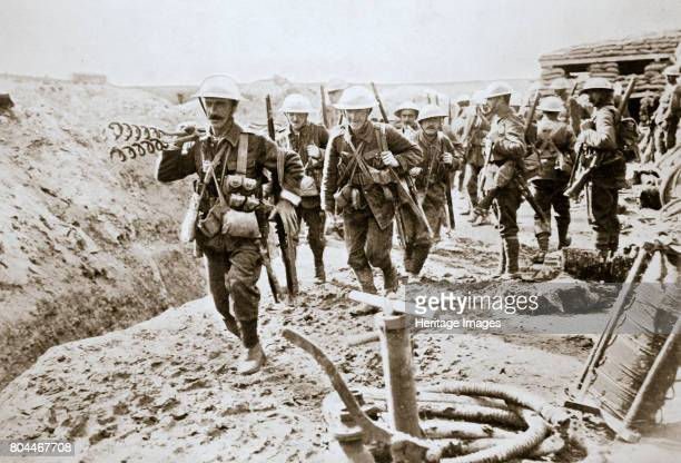 A British wiring party going up to the trenches Somme campaign France World War I 1916 Artist Unknown
