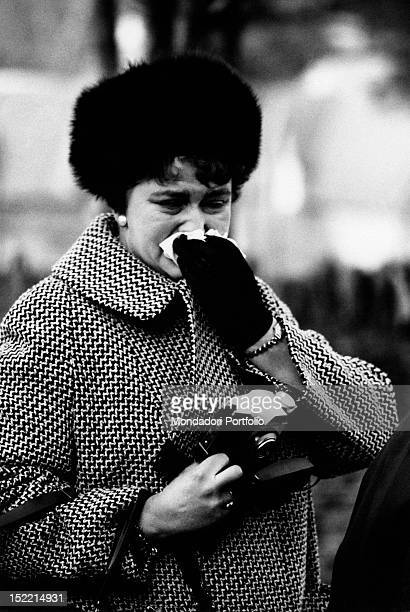 British woman crying during the State funeral of the British exprime minister Winston Churchill London 30th January 1965