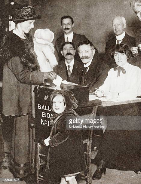A British Woman Voting For The First Time In The General Election Of 1918 From The Story Of 25 Eventful Years In Pictures Published 1935