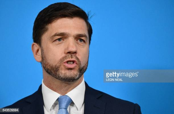 British Work and Pensions Secretary and Conservative MP Stephen Crabb speaks during a news conference in central London on June 29 where he announced...