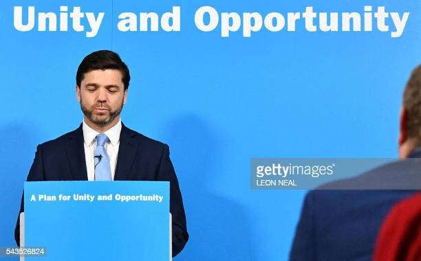 British Work and Pensions Secretary and Conservative MP Stephen Crabb pauses during a news conference in central London on June 29 where he announced...