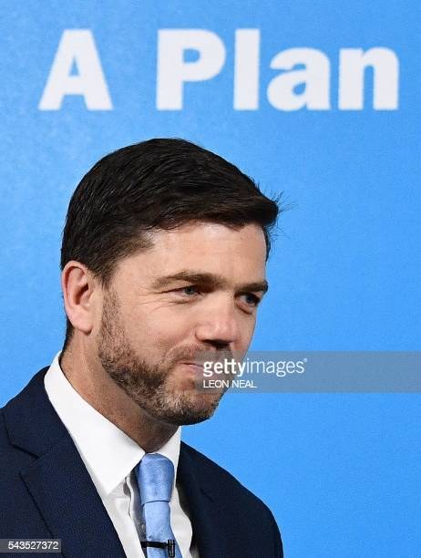 British Work and Pensions Secretary and Conservative MP Stephen Crabb arrives at a news conference in central London on June 29 where he announced...