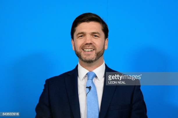 British Work and Pensions Secretary and Conservative MP Stephen Crabb speaks at a news conference in central London on June 29 where he announced his...