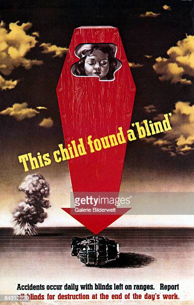 British World War II poster depicts a dead child in a coffin which turns into an arrow pointing at a hand grenade, circa 1942. The caption reads...