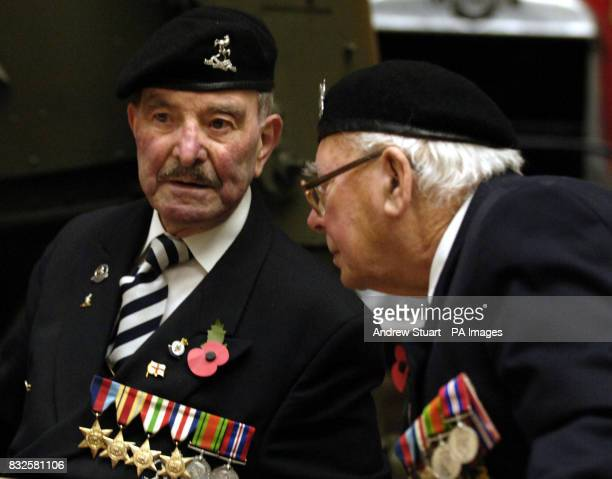 British World War II veterans Ted Chappell of the Italian campaign and Jeff Kirk a veteran of Normandy inside the Imperial War Museum as they take...