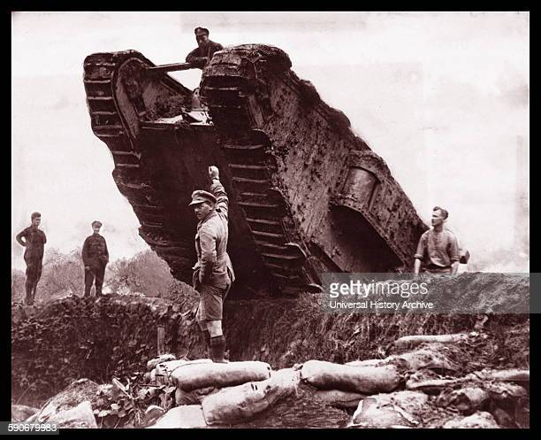 British World war One tanks in the trenches at the Battle of Cambrai France 1917