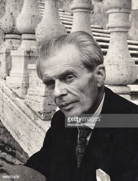 British writer Aldous Huxley in front of a travertine staircase Rome April 1963