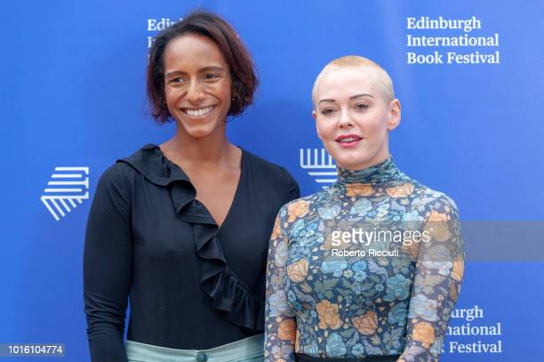 British writer and broadcaster Afua Hirsch and American activist former actress author model and singer Rose McGowan attend a photocall during the...