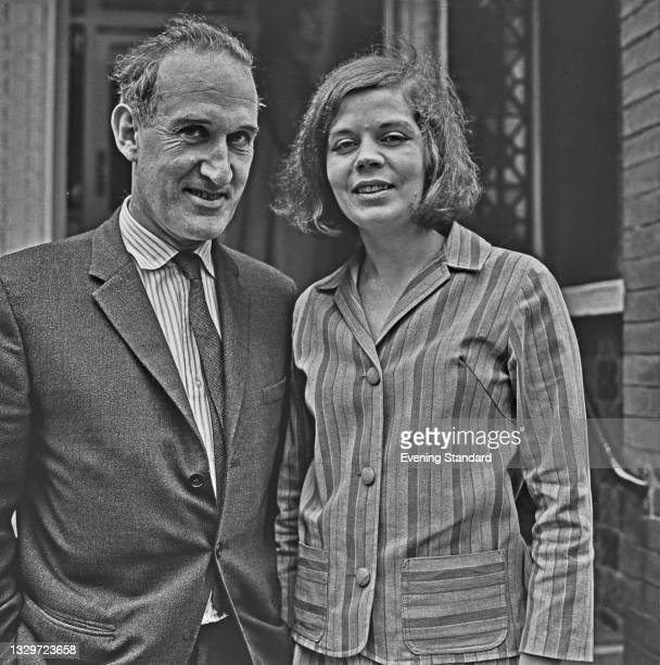 British writer and journalist Anthony Sampson and his fiancée, literary agent Sally Bentlif, UK, 3rd June 1965.