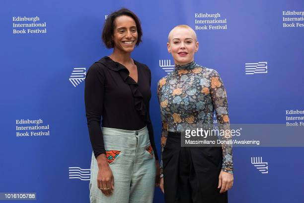 British writer broadcaster and former barrister Afua Hirsch and American activist former actress author model and singer Rose McGowan attends a...