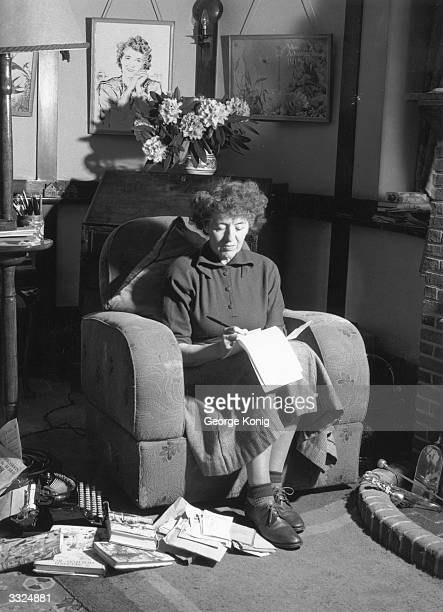 British writer Enid Blyton at her home in Beaconsfield in Buckinghamshire.