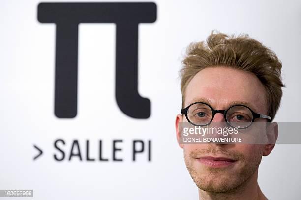 British writer essayist and autistic savant Daniel Tammet poses on March 14 at the Palais de la Decouverte a science museum in Paris as part of the...
