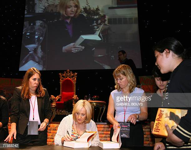 British writer JK Rowling signs copies of Harry Potter and the Deathly Hallows for 1600 public schools children at the Kodak Theater in Hollywood 15...