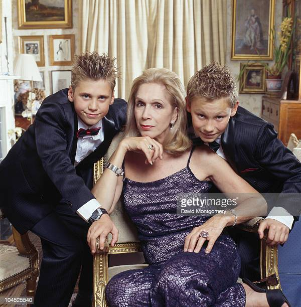 British writer Lady Colin Campbell with two boys circa 2000 The boys are possibly her adopted Russian sons Misha and Dima
