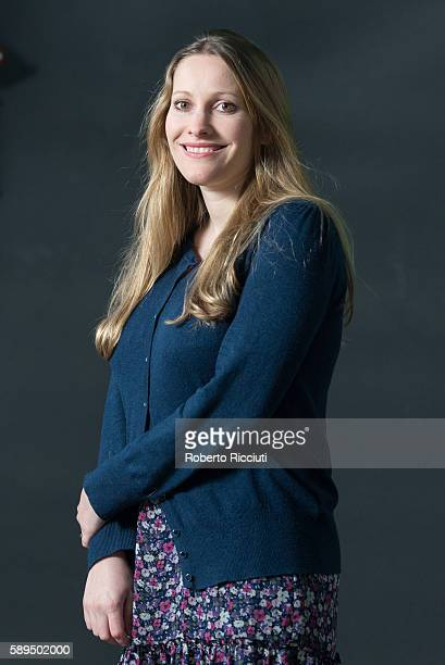British writer Laura Bates attends a photocall at Edinburgh International Book Festival at Charlotte Square Gardens on August 14 2016 in Edinburgh...