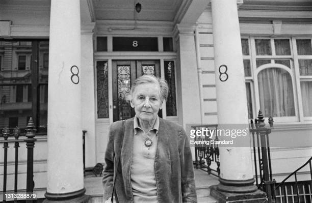 British writer Mary Stocks, Baroness Stocks , outside 8 Queen's Gate Terrace in London, UK, 3rd November 1973. She was born in the house in 1891.