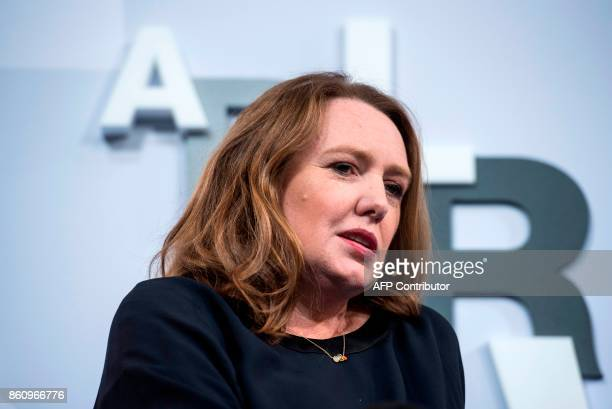 British writer Paula Hawkins gives a talk at the Frankfurt Book Fair on October 13 2017 in Frankfurt am Main western Germany France is this year's...