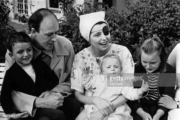 British writer Roald Dahl with his wife Patricia Neal and their three children Original Publication People Disc HD0155