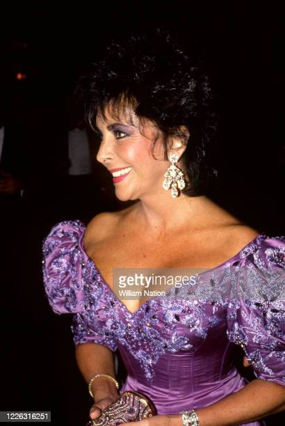 British-American actress, businesswoman, and humanitarian Elizabeth Taylor poses during the Women's Wear Daily party circa September, 1987 at...