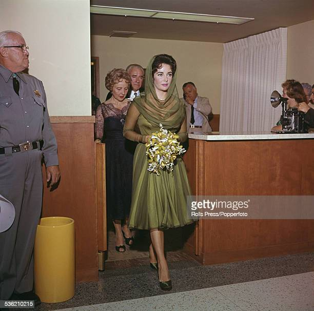 BritishAmerican actress Elizabeth Taylor pictured arriving for the ceremony of her wedding to fourth husband singer and entertainer Eddie Fisher in...