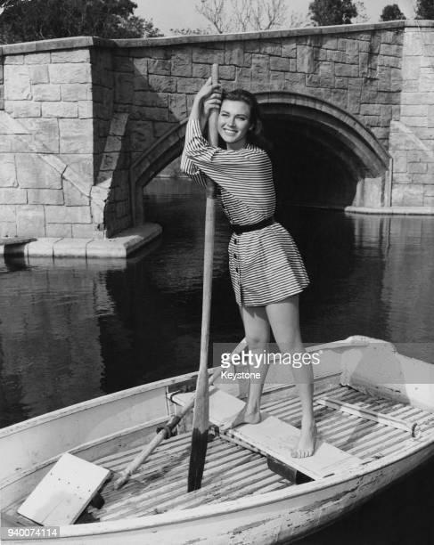 BritishAmerican actress Gia Scala goes boating USA circa 1955